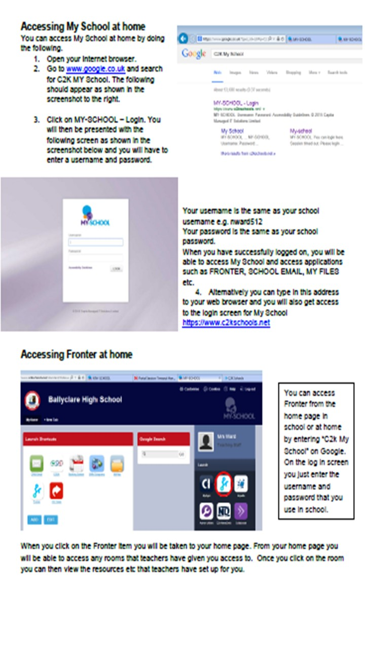 Access to school folders and emails from home - Ballyclare High School